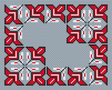 Beautiful design with three colors - red white and black for blue Aida 14 ct.Contains only full stitches.