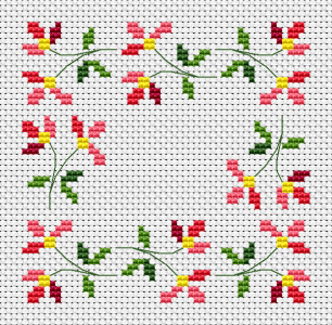 A delicate floral cross stitch pattern that is very suitable for a bicornu,small napkins and other projects.