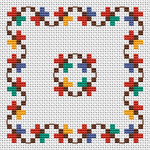 Colorful and very cheerful cross stitch pattern.Suitable for children's projects, small tablecloths,napkins,biscornu making and similar embroidery.