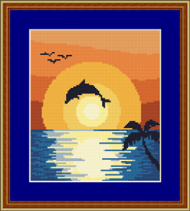 A small sea-themed tapestry with a splendid sunset and a dancing dolphin.