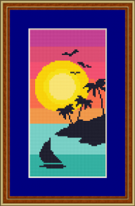 Beautiful seascape cross stitch pattern.Sunset with a lonely sailboat in the ocean and an island with palm trees.