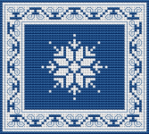Combination of two monochrome cross stitch patterns - blue border and ornament.