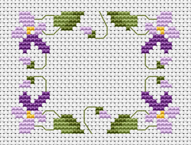 Charming violets cross stitch pattern.We love them even in the summer when they are gone, but they still smell and remind us of spring.