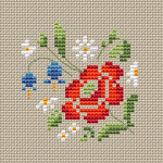 An elegant small design with flowers that you can decorate your home or make greeting cards and other crafts. Use only cream fabric to get the effect of the selected colors.