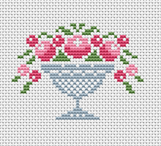 Beautiful small design with roses in a vase. Suitable for greeting cards and other projects. You can add your own text if you like.