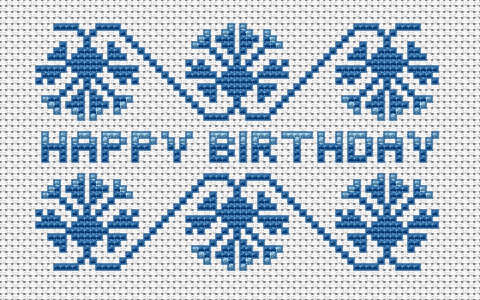 An interesting Happy Birthday cross stitch pattern in blue colors, but you can use others - whatever you like.