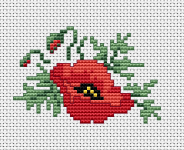 Red poppies cross stitch pattern.One of the favorite summer flowers, a symbol of fertility, and also a symbol of love in Persian literature.
