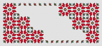 A rectangular table runner (tablecloth) with motifs of traditional Bulgarian embroidery. Can be done with or without backstitch.