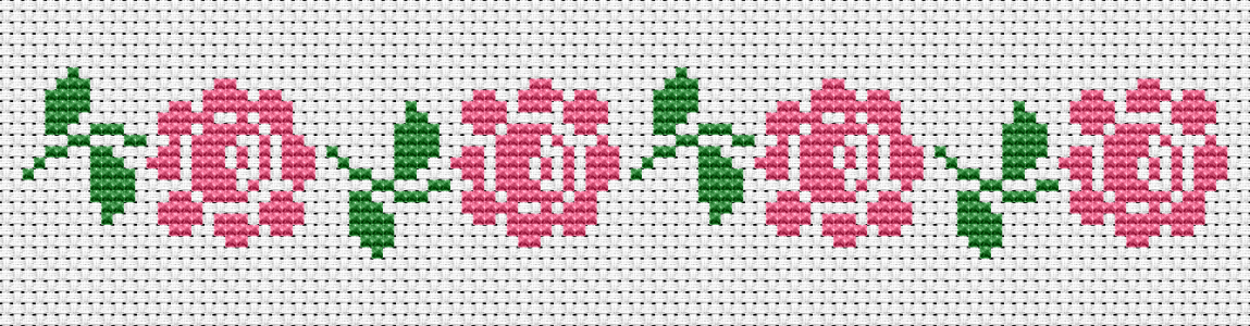Beautiful pink roses cross stitch pattern for book dividers,borders and other embroidery of your choice.
