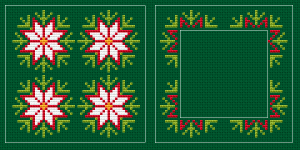 This cross stitch pattern is designed for stitching on green Aida 14 ct.