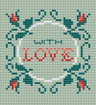 "Beautiful cross stitch pattern with roses and the text:""With Love"".Suitable for cards making or small biscornu (without the text) on mint Aida 14 ct."