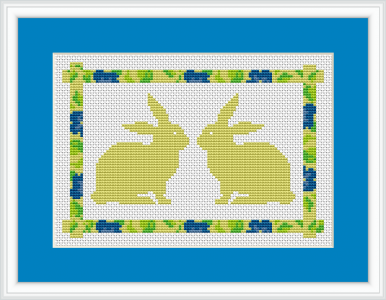 "Two cute twin bunnies who say (after Jerry Smith) : ""I may be a twin, but I am one of a kind."" This cross stitch pattern is made for white Aida 14 ct and contains only full stitches."