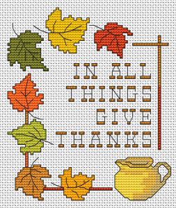 "A beautiful fall cross stitch pattern with the text:""In all things give thanks""."