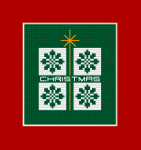 Free Christmas cross stitch card on green Aida 14 ct.