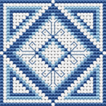 Blue Biscornu pattern