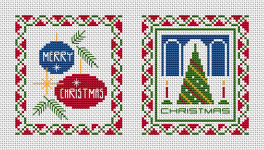 Set of two Christmas cross stitch cards.The symbols of Christmas - tree, ornaments, red candles are decorated with a beautiful festive border.