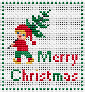 Cute  elf boy holding a tree to welcome the Christmas and New Year holidays.This pattern is suitable for making cards and other gifts for children.