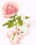 Cute cross stitch of a bunny rabbit holding a pink rose. Designed in light pink and green colors.