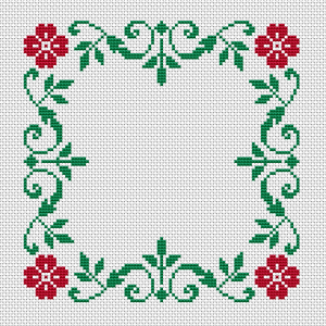 Floral border free cross stitch pattern with two colors - red and green.