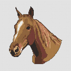 Cross stitch portrait of a horse in wonderful browns and ochre.