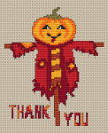 "Funny scarecrow cross stitch card with the text: ""Thank you"".For everyone who celebrates Thanksgiving."