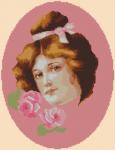 Cross stitch portrait of a beautiful Victorian girl with roses.