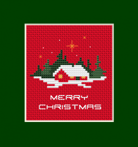 Christmas card free cross stitch pattern designed for red Aida 14 ct.The chart contains full stitches,backstitches and few french knots.
