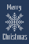 Cross stitch Christmas greeting card with a beautiful snowflake.Designed for 14 ct dark blue Aida.Use 2 strands of thread for backstitches (snowflake) and 1 for the letters.