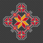 Small cross stitch pattern suitable for making ornaments  designed for Black Aida 14 ct.