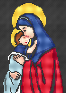 Virgin Mary or Madonna with child free cross stitch pattern for stitching on black Aida 14 ct.