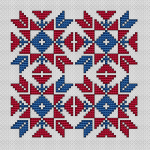Free biscornu cross stitch pattern in Red and Blue.The backstitch is optional, it can be ignored if you wish.