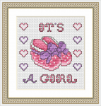 This free pattern is perfect to stitch a card to welcome a new baby girl.