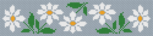 An easy to do floral cross stitch pattern for bookmarks making.Designed for Sky Blue Aida 14 ct and suitable for beginners.