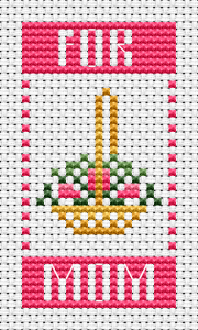 A basket of roses for my mom and   best wishes for Mother's Day.This cross stitch pattern contains few back stitches.