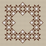 Small designs for tablecloths, napkins, bicornu making and more.Two colors are used - brown and white.