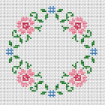 This floral cross stitch pattern is suitable for  round napkins .It can also be used for cards if you add own text in the middle.