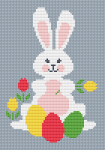 A cute bunny with Easter eggs,holding a flower.For cards making , 16 or 18 ct fabric  is recommended.