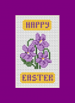 "Beautiful floral card with purple violets and the text: ""Happy Easter"".Violet is the ancient royal color and therefore a symbol of the sovereignty of Christ."