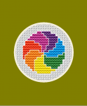 Miniature cross stitch pattern with rainbow colors for small projects such as jewelry, labels, mini cards and more.