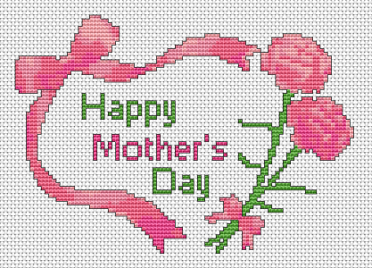 Beautiful floral cross stitch card to say to the best mom in the world, Happy Mother's Day!