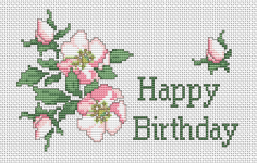 Happy Birthday with this large cross stitch card with a blooming wild roses.