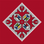 A cross stitch pattern for a diamond pendant with an element of Bulgarian embroidery.