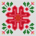 Бeautiful floral ornament suitable for bscornu,greetings cards and for other small cross stitch projects.