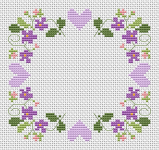 A very gentle cross stitch pattern with hearts and flowers.