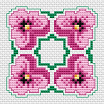 A beautiful floral composition with violets. Suitable for biscornu making,cross stitch cards and more projects.
