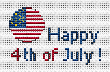 "July 4 - United States Independence Day.This cross stitch card contains a fragment of the US flag and the text:""Happy 4th of July!"""