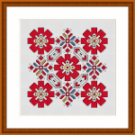 A beautiful ornament  based on traditional Bulgarian embroidery.The predominant red color symbolized the mother's blood and the continuation of life.