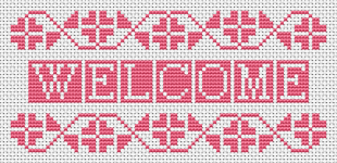 "A monochrome cross stitch pattern with the text: ""Welcome"" in a gentle shade of pink."