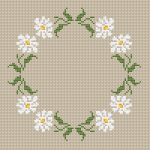 Very delicate design with daisies arranged in a circle.This pattern contains only full cross stitches.