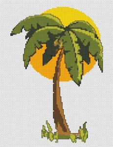 Cross stitch pattern of a sun loving tropical palm tree.